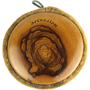 Olive Wood Pin Cushion Jerusalem Palestine Circa 1920.
