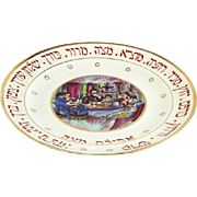 Limoges Faience Hand Painted Passover Seder Plate France Circa 1915 Judaica.