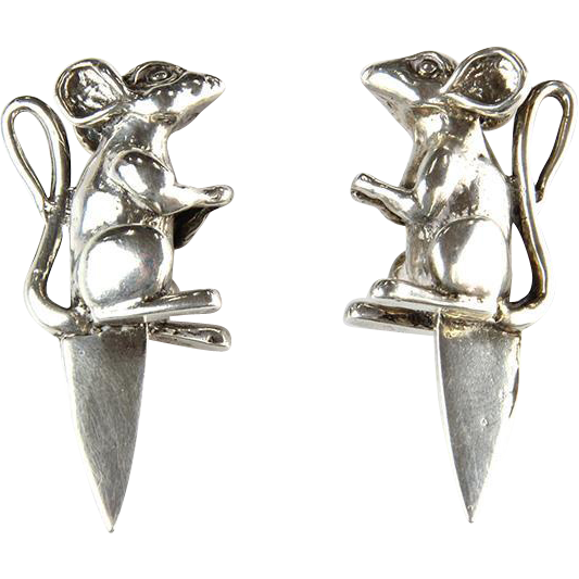 Novelty English Sterling Silver Mice Cheese Markers Card Holders.