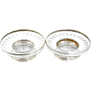 Pair of 950 Sterling Silver Mounted Cut Crystal Glass Bowls by Societe Parisienne d'Orfevrerie Paris France 1910-1914.