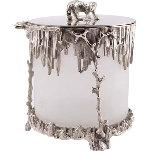 Novelty English Silver Plated and Glass Polar Bear Ice Bucket.
