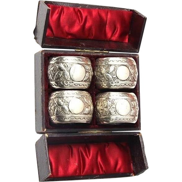 Set of 4 Sterling Silver Napkin Rings by John Millward Banks Birmingham England 1890.