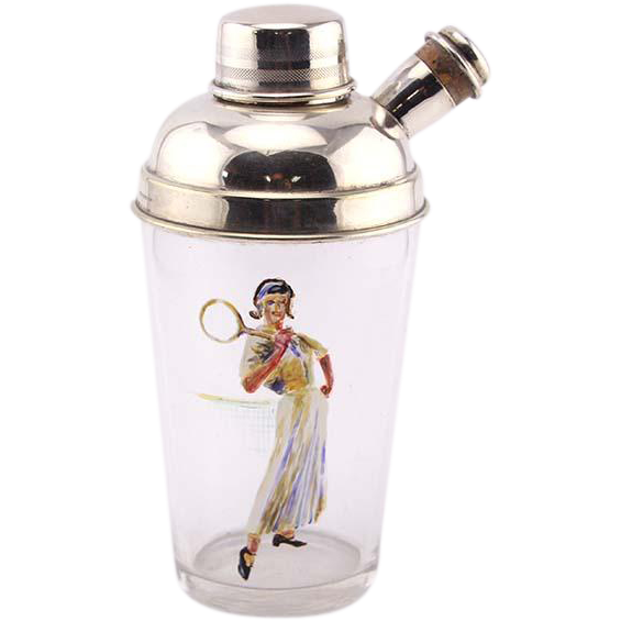 Novelty English Silver Plated Mounted Glass Tennis Cocktail Shaker.