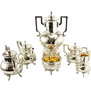 Extensive 6pcs Silver Plated Tea and Coffee Set by Mappin & Webb, England, Circa 1930.