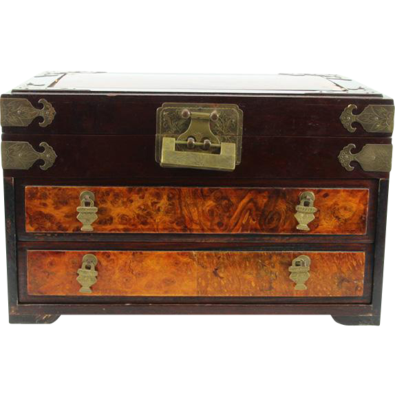 Large Chinese Wood Jewelry Box Chest Circa 1930