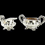 Sterling Silver Sugar Bowl and Creamer, John Walton, Newcastle, England, 1830.