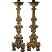 Antique Pair of Carved Wood Alter Candlesticks, Italy, 19th Century.