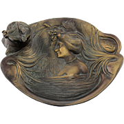 Art Nouveau Brass Maiden In The Lake Inkstand Inkwell