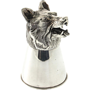 Novelty Sterling Silver Wolf Stirrup Cup.