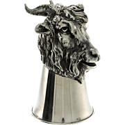 Novelty Sterling Silver Goat Stirrup Cup.