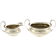 Regency Sterling Silver Sugar Bowl and Creamer, Solomon Royes, London, England, 1819.
