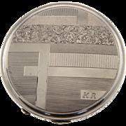 Art Deco Silver Powder Box Compact, Circa 1930.