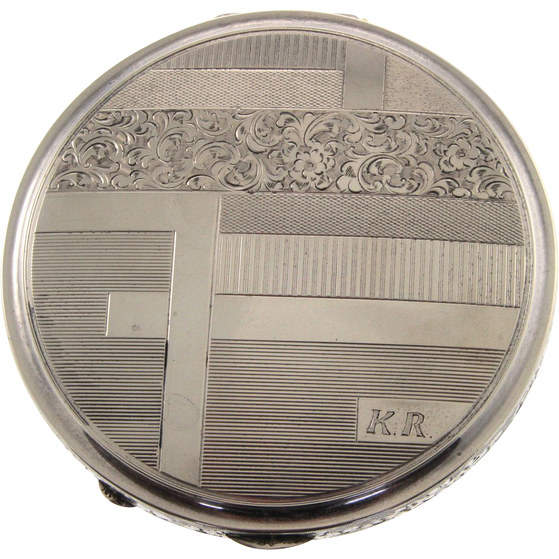 Art Deco Silver Powder Box Compact, Circa 1930.
