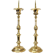 Antique Pair of Large Brass Alter Candlesticks.