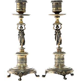 Pair of Gilt Silver Figural Candlesticks, Italy, 1940's.