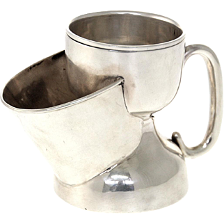 Sterling Silver Shaving Mug with Leather Case, Philip Hanson Abbot, Birmingham, England, 1912.
