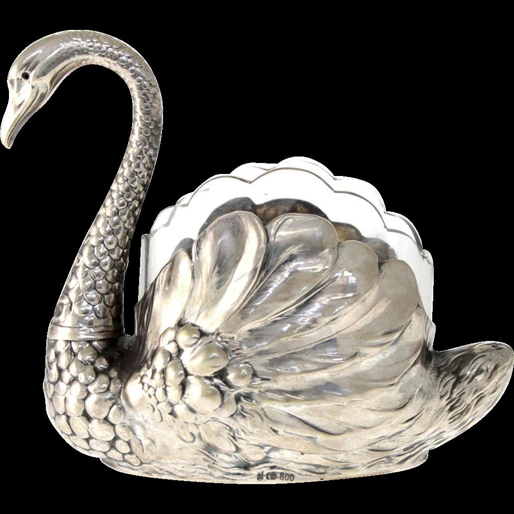 Silver Swan Form Centerpiece Bowl, Gottlieb Kurz, Schwabisch Gmund, Germany, Circa 1900.