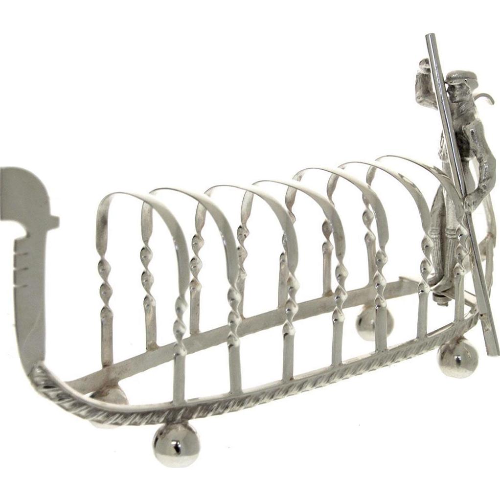 Novelty English Silver Plated Gondola 7 Bar Toast Rack.