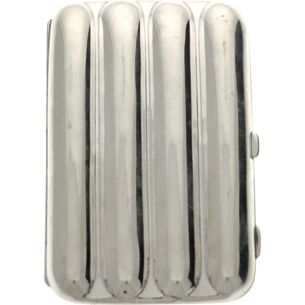 Sterling Silver Cigar Case, Clark & Sewell, Chester England, 1910.