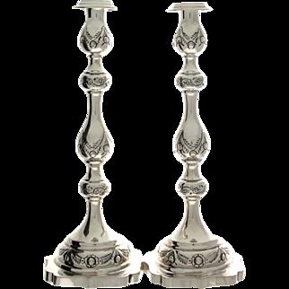 Sterling Silver Pair of Sabbath Candlesticks, Morris Salkind, London, England, 1933, Judaica.