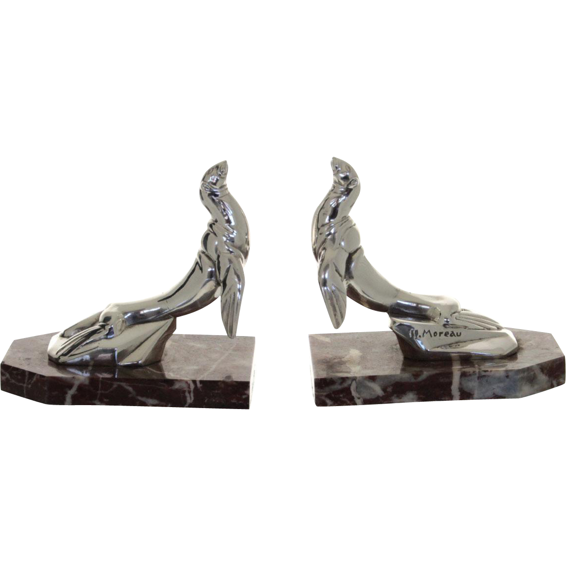 Hippolyte Moreau Pair of French Art Deco Silver Plated Seal Bookends, 1920's.