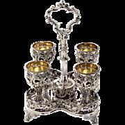 Victorian Silver Plated 4 Egg Cups Cruet Set, England, Circa 1880.