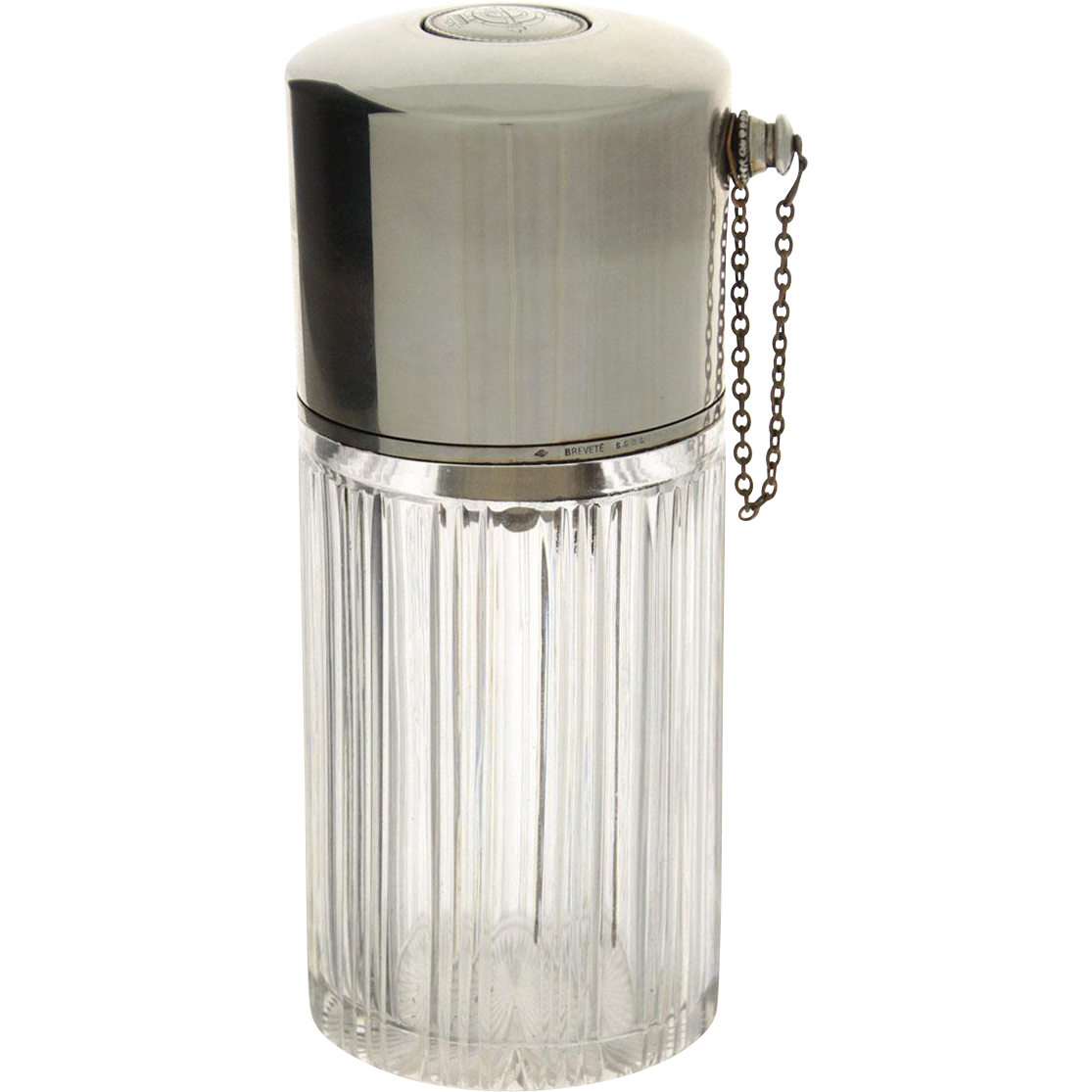 Sterling Silver and Crystal French Perfume Bottle Atomizer, Georges Useldinger, Paris, 1895-1912.