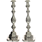 Sterling Silver Pair of Sabbath Candlesticks, Rosenzweig, Taitelbaum & Co, London, England, 1928, Judaica.
