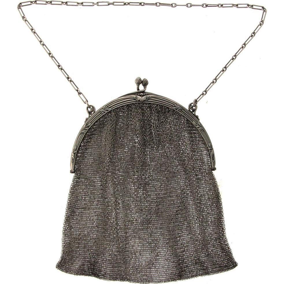 French Sterling Silver Mesh Purse Handbag, Alphonse Debain, Paris, 1883-1911.