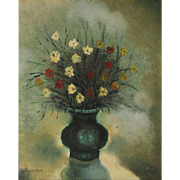 Albert Goldman (Israel, 1922-2011) - Flower Vase Painting, Oil on Canvas Mounted on Board, 1976.