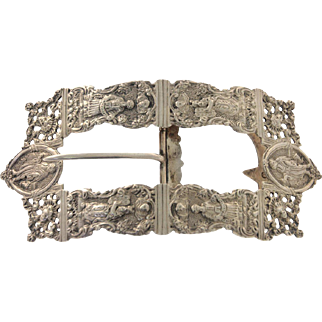 Rare Dutch Silver Belt Buckle For The Day Of Atonement (Yom Kippur), 19th Century, Judaica.