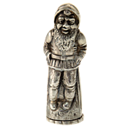 Novelty Silver Figural Dwarf Elf Salt or Pepper Shaker.