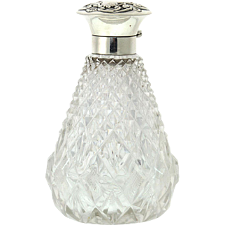 Sterling Silver Mounted Crystal Perfume Scent Bottle John Grinsell Birmingham England 1899