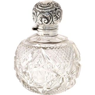 Edwardian Sterling Silver Mounted Crystal Perfume Scent Bottle Martin Hall & Co England 1906
