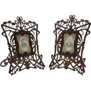 Unique Pair of Art Nouveau Carved Wood Picture Photo Frames, Circa 1900.