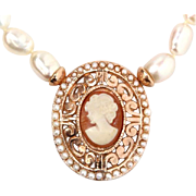 9 Karat Rose Gold Cameo Pearl Pendant On Pearl Necklace