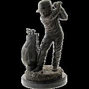 "C. Keliem - ""The Golfer"" - Bronze Sculpture"