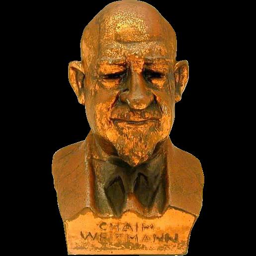 Vintage Spelter Chaim Weizmann Figurine, Israel, 1949.