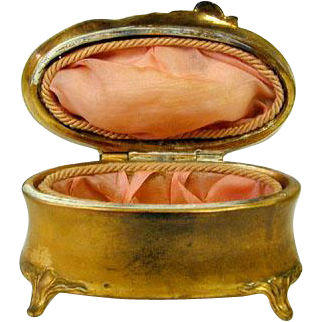 Vintage Gilt Brass Oval Jewelry Box