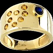 14 Karat Yellow Gold Citrine and Blue Sapphire Pinky Ring
