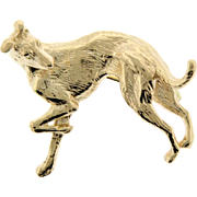 14k Yellow Gold Greyhound Dog Brooch Pin.