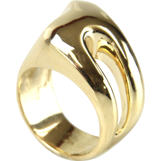 Asymmetrical Innovative 14 Karat Yellow Gold Ring.
