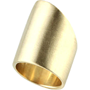 Modern Smooth New 14k Yellow Gold Matte Designer Ring.