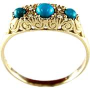 14 Karat Yellow Gold Turquoise & Diamond Ring.