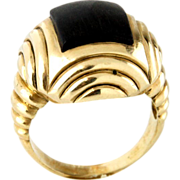 14 Karat Yellow Gold & Ebony Ring.