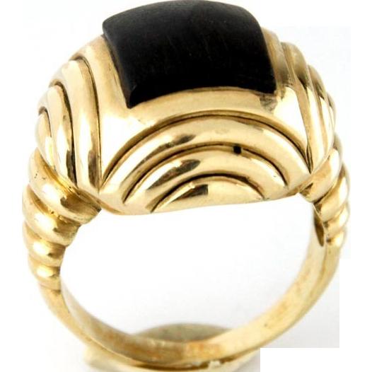 14 Karat Yellow Gold & Ebony Ring.