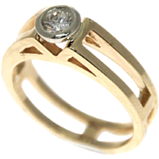 14k Yellow Gold Diamond Solitaire Engagement Ring.