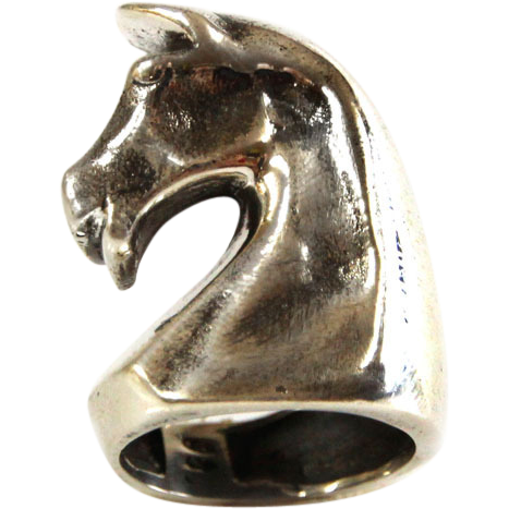 Sterling Silver Chess Knight Horse Ring.