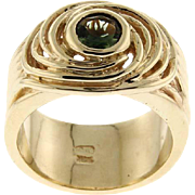 New 14 Karat Yellow Gold and Tourmaline Spiral Ring.
