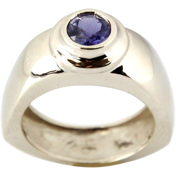 14 Karat White Gold & Iolite Ring.